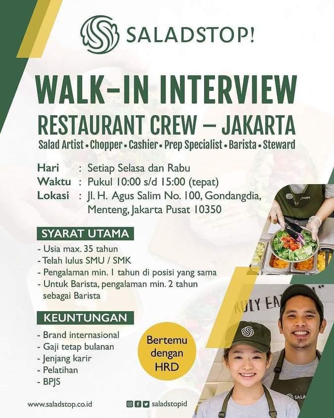 Lowongan Kerja Restaurant Crew Saladstop 𝙈𝙊𝙃𝘼𝙈𝙈𝘼𝘿 𝙅𝘼𝙀𝙉𝙐𝘿𝙄𝙉 Di Jakarta Pusat 18 Mar 2019 Loker Atmago Warga Bantu Warga