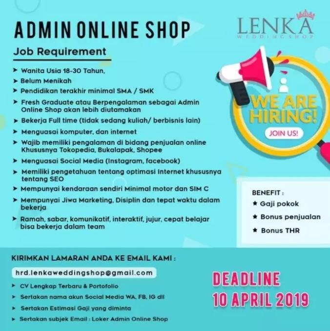 Lowongan Kerja 2019 Admin Online Shop