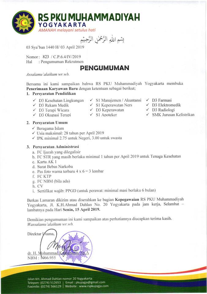 Lowongan Kerja Karyawan Rs Pku Muhammadiyah