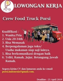 58722 small %28lowongan kerja%29 dibutuhkan crew food truck dan kokijuru masak freelance di porsi indonesia surabaya %28walk in interview  wawancara langsung%29