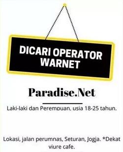 61259 small %28lowongan kerja%29 dibutuhkan 3 orang operator warnet di paradise net condong catur yogyakarta %28walk in interview  wawancara langsung%29