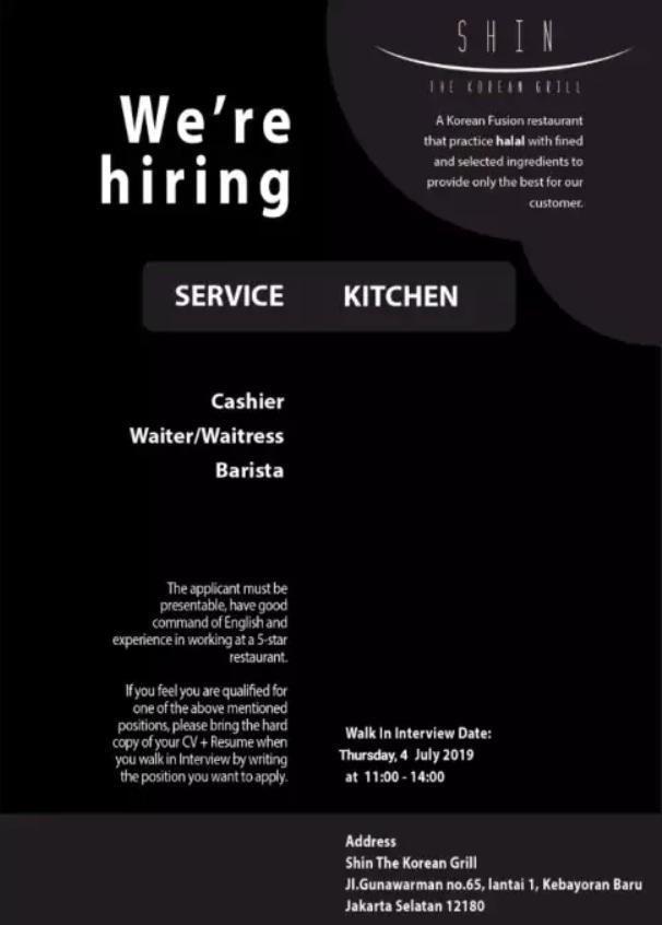 65388 medium %28lowongan kerja%29 dibutuhkan cashierkasir  waiterwaitress  dan barista di restoran shin korean grill jakarta selatan %28walk in interview  wawancara langsung%29