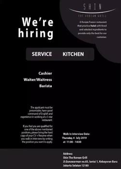 65388 small %28lowongan kerja%29 dibutuhkan cashierkasir  waiterwaitress  dan barista di restoran shin korean grill jakarta selatan %28walk in interview  wawancara langsung%29