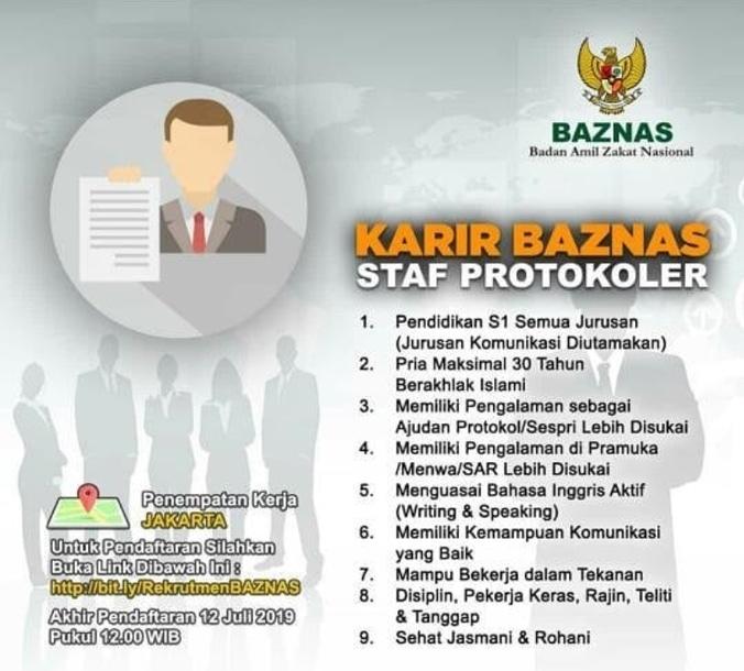 65393 medium lowongan kerjakarir staff protokoler di baznas indonesia