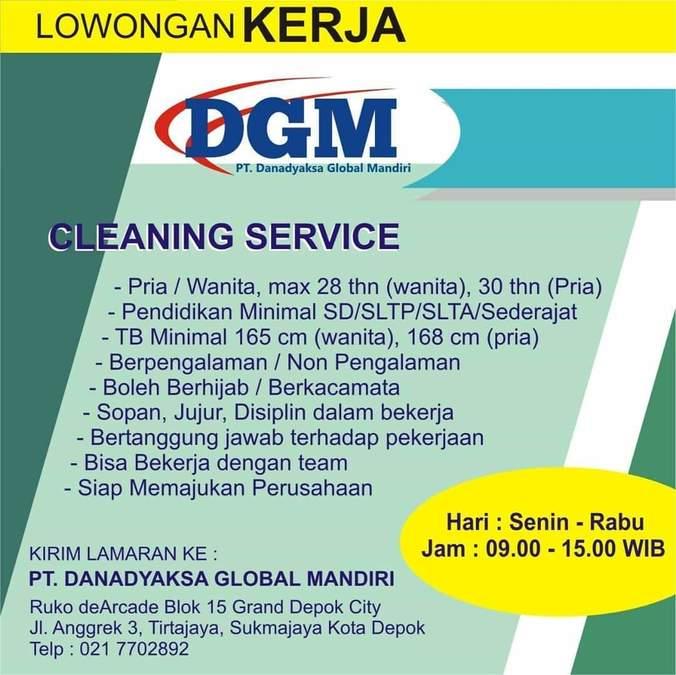 Lowongan Kerja Cleaning Service 𝙈𝙊𝙃𝘼𝙈𝙈𝘼𝘿