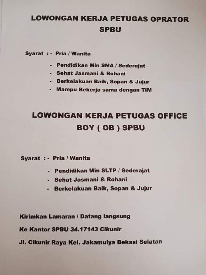 Lowongan Kerja Operator Dan Office Boy Spbu 𝙈𝙊𝙃𝘼𝙈𝙈𝘼𝘿