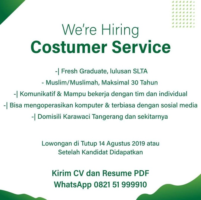 Lowongan Kerja Customer Service 𝙈𝙊𝙃𝘼𝙈𝙈𝘼𝘿 𝙅𝘼𝙀𝙉𝙐𝘿𝙄𝙉 Di Karawaci Tangerang Kota 2 Aug 2019 Loker Atmago Warga Bantu Warga