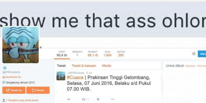 7290 medium akun twitter bpbdjakarta diretas  foto profil dan follower berkurang drastis