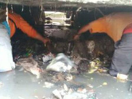 7357 medium sampah saluran phb kebon sayur dibersihkan