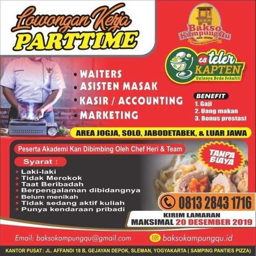 Lowongan Kerja Part Time Waitress Kasir Marketing Asisten Di Resto Bakso Indah Pratiwi Di Sleman 13 Dec 2019 Loker Atmago Warga Bantu Warga