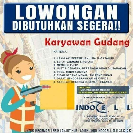 Lowongan Kerja Karyawan Gudang di Indocell - Gibran Waluyo ...