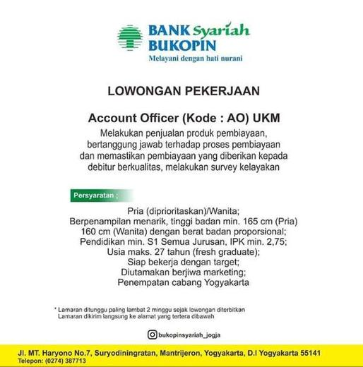 Lowongan Kerja Bank Bukopin Syariah Jogja Gibran Waluyo Di Yogyakarta 23 Dec 2019 Loker Atmago Warga Bantu Warga