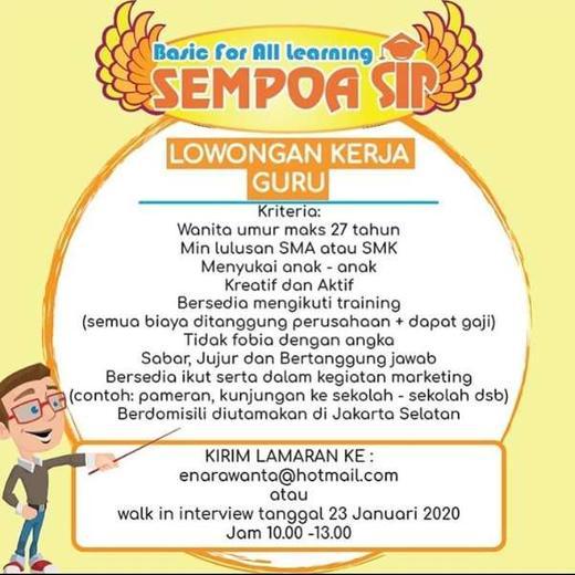 Lowongan Kerja Guru Sempoa Sip Tebet Walk In Interview Gibran Waluyo Di Jakarta Selatan 15 Jan 2020 Loker Atmago Warga Bantu Warga