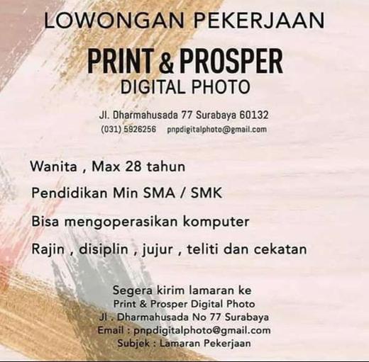 Lowongan Kerja Karyawati Lulusan SMA/SMK di Photo Studio ...