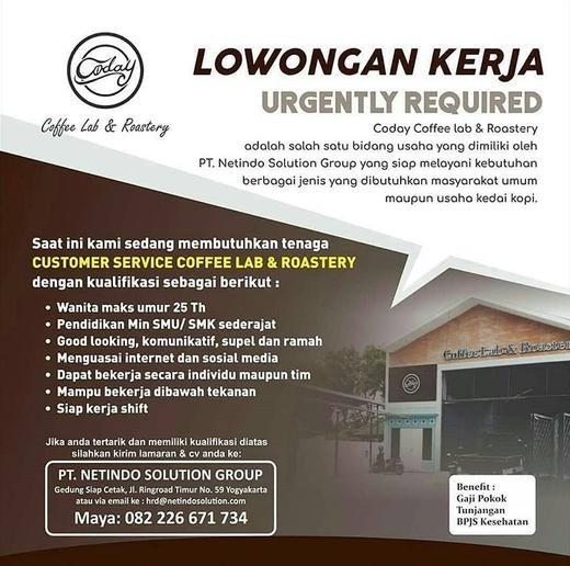 Lowongan Kerja Customer Service / CS di Coday Coffee Lab ...