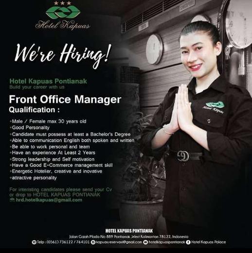 Lowongan Kerja Front Office Manager Di Hotel Kapuas Pontianak Atmago