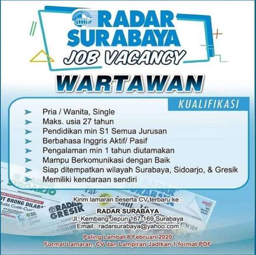 Lowongan Kerja Wartawan di Radar Surabaya | AtmaGo