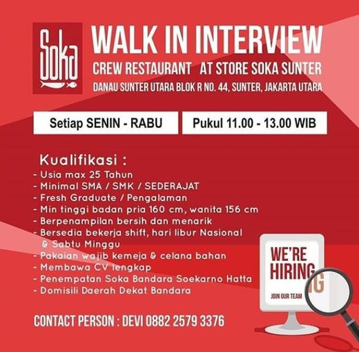 Lowongan Kerja Crew Restaurant Soka Sunter Walk In Interview Atmago