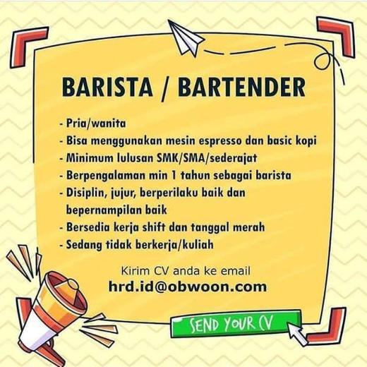Lowongan Kerja Barista Bartender Di Pt Pronutra Abadi Indah Pratiwi Di Jakarta Barat 6 Feb 2020 Loker Atmago Warga Bantu Warga
