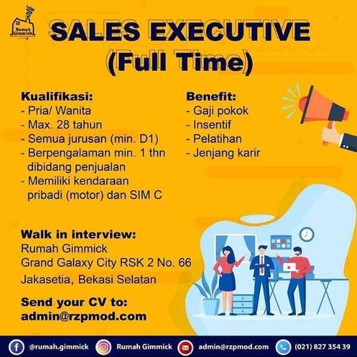 Lowongan Kerja Sales Executive Di Rumah Gimmick Bekasi Walk In Interview Atmago