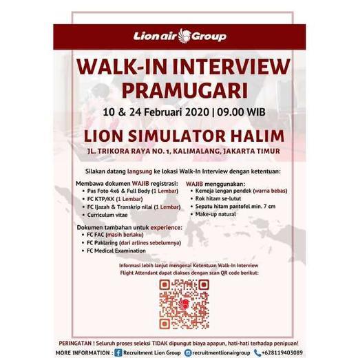 Lowongan Kerja Pramugari Lion Air Group Walk In Interview