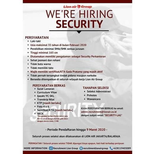 Lowongan Kerja Security Satpam Di Lion Air Group Gibran Waluyo