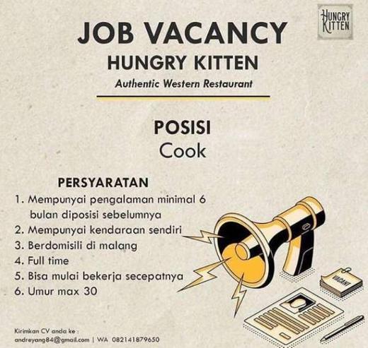 Lowongan Kerja Cook Juru Masak Di Hungry Kitten Atmago