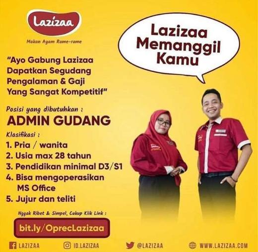 Lowongan Kerja Admin Gudang Lazizaa Gibran Waluyo Di Surabaya 20 Feb 2020 Loker Atmago Warga Bantu Warga