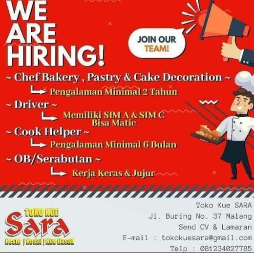 Lowongan Kerja Chef Bakery Pastry Driver Cook Helper Ob Di Toko Kue Sara Malang Gibran Waluyo Di Malang Kota 27 Feb 2020 Loker Atmago Warga Bantu Warga