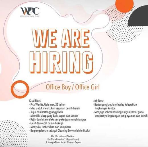 Lowongan Kerja Office Boy Office Girl Cinere Depok Atmago