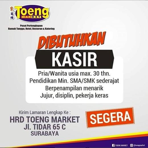 Lowongan Kerja Kasir Di Toeng Market Surabaya Gibran Waluyo Di Surabaya 3 Mar 2020 Loker Atmago Warga Bantu Warga