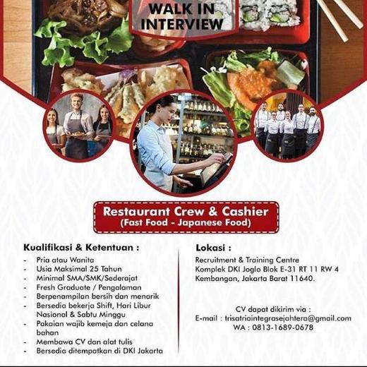 Lowongan Kerja Restaurant Crew Cashier Murabae Bento Indah Pratiwi Di Jakarta Barat 6 Mar 2020 Loker Atmago Warga Bantu Warga
