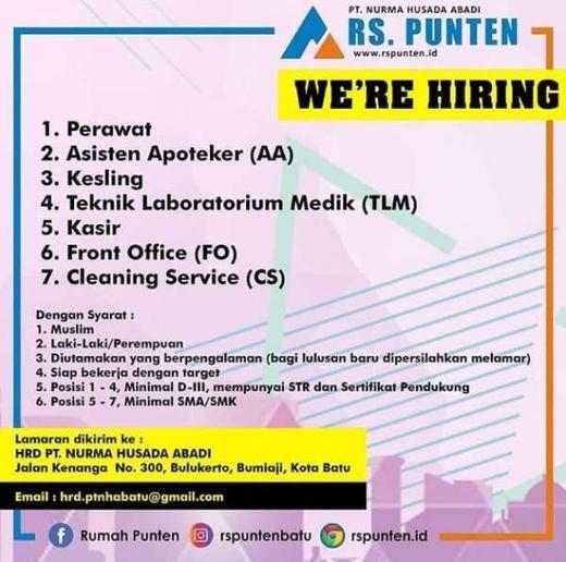 Lowongan Kerja Cleaning Service Front Office Dan Kasir Di Di Rs Punten Gibran Waluyo Di Malang Kabupaten 6 Mar 2020 Loker Atmago Warga Bantu Warga