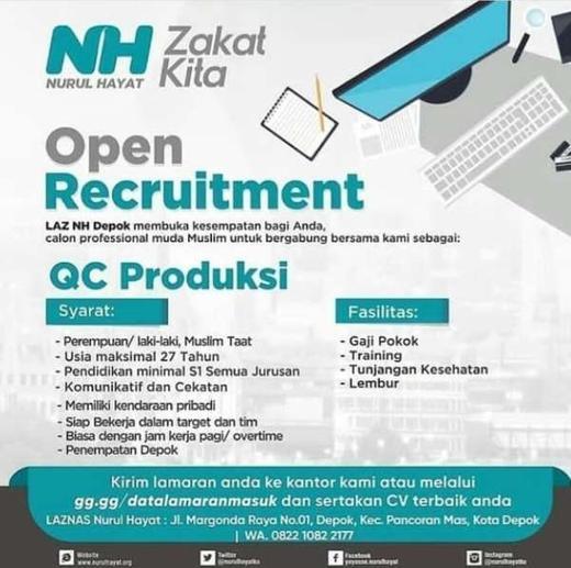 Lowongan Kerja Qc Produksi Di Laznas Nurul Hayat Indah Pratiwi Di Depok Kota 10 Mar 2020 Loker Atmago Warga Bantu Warga
