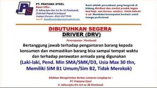 Lowongan Kerja Driver Sopir Di Pratama Steel Pontianak Atmago
