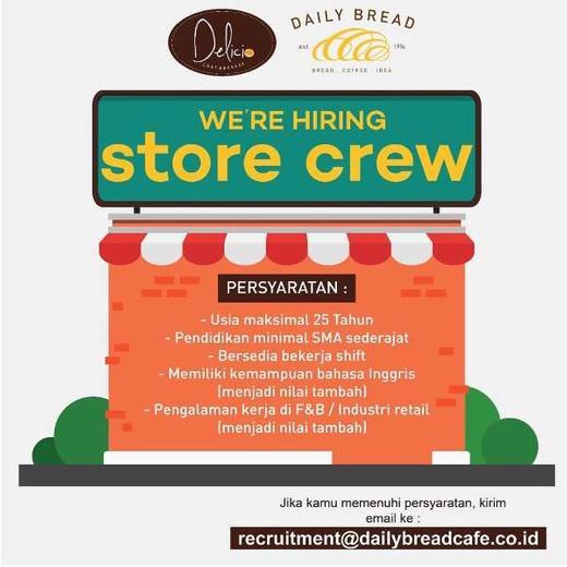 Lowongan Kerja Store Crew Di Daily Bread Cafe Tebet Atmago