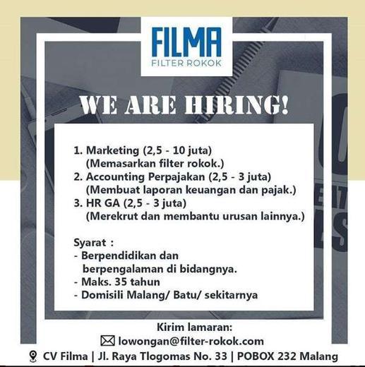Lowongan Kerja Marketing Accounting Dan Hrd Di Cv Filma Gibran Waluyo Di Malang Kota 13 Mar 2020 Loker Atmago Warga Bantu Warga