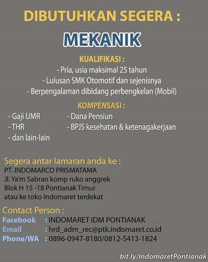 Info Lowongan Kerja Indomaret Jakarta Barat