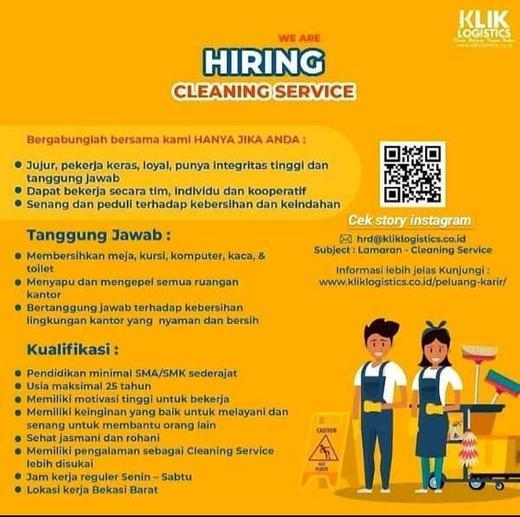 Lowongan Kerja Cleaning Service Klik Logistics Indah Pratiwi Di Bekasi Kota 17 Apr 2020 Loker Atmago Warga Bantu Warga