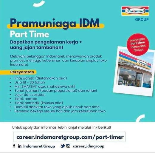 Lowongan Pramuniaga Part Time Indomaret Gibran Waluyo Di Jakarta Selatan 20 Apr 2020 Loker Atmago Warga Bantu Warga