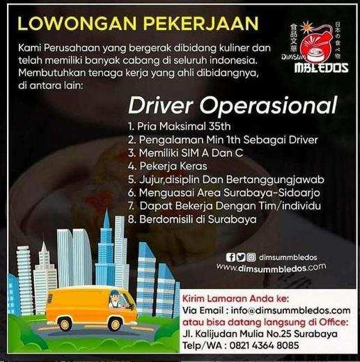 Lowongan Kerja Driver Sopir Operasional Surabaya Atmago