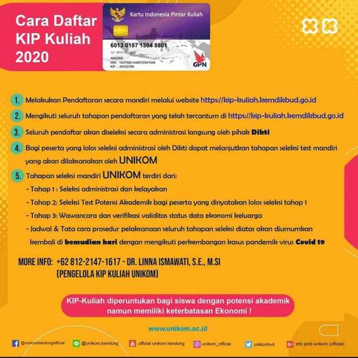 Pembukaan Pendaftaran KIP Kuliah Unikom Tahun Ajaran 2020 ...