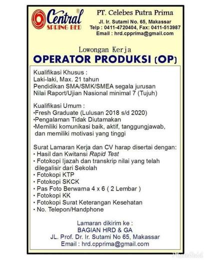 Lowongan Operator Produksi Makassar Gibran Waluyo Di Makassar 18 Jun 2020 Loker Atmago Warga Bantu Warga