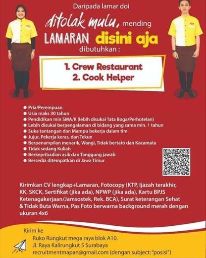 Lowongan Crew Restoran Dan Cook Helper Mapan Group Gibran Waluyo Di Surabaya 24 Jun 2020 Loker Atmago Warga Bantu Warga