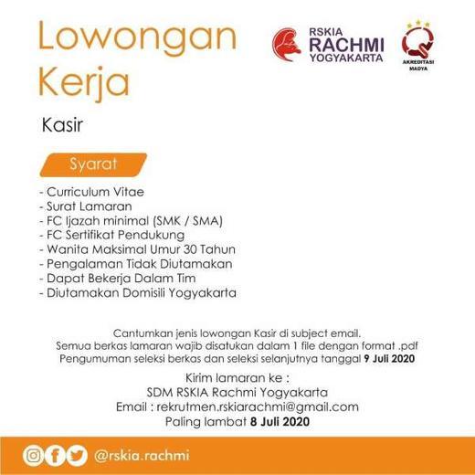 Lowongan Kasir Rumah Sakit Indah Pratiwi Di Yogyakarta 1 Jul 2020 Loker Atmago Warga Bantu Warga