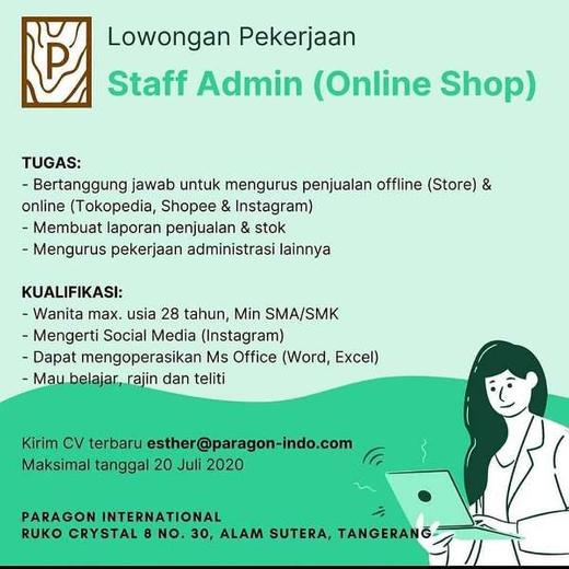 Lowongan Pekerjaan Staff Admin Online Shop Indah Pratiwi Di Tangerang Selatan Kota 15 Jul 2020 Loker Atmago Warga Bantu Warga