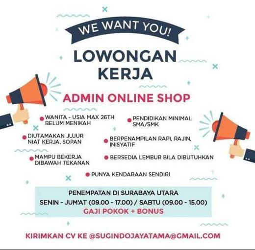 Lowongan Admin Online Shop Surabaya Utara Gibran Waluyo 15 Jul 2020 Loker Atmago Warga Bantu Warga