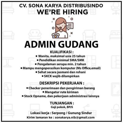 Lowongan Admin Gudang Serpong Indah Pratiwi Di Tangerang Selatan Kota 22 Jul 2020 Loker Atmago Warga Bantu Warga