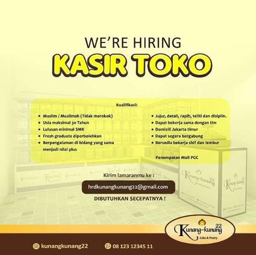 Lowongan Kasir Bakery Mall Pgc Gibran Waluyo Di Jakarta Timur 29 Jul 2020 Loker Atmago Warga Bantu Warga
