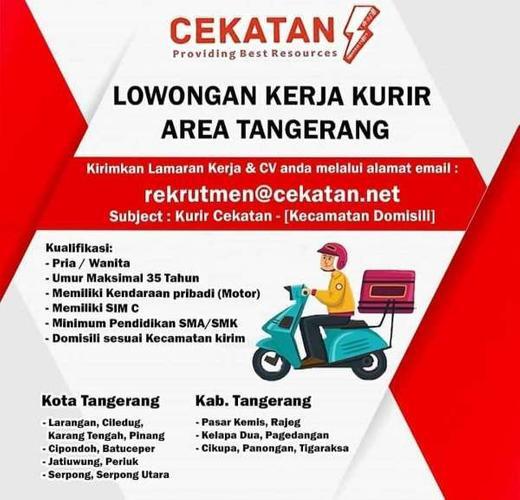 Lowongan Kerja Kurir Area Tangerang Atmago